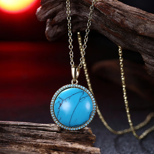 Circular Turquoise Rope Design Pendant Gold Necklace
