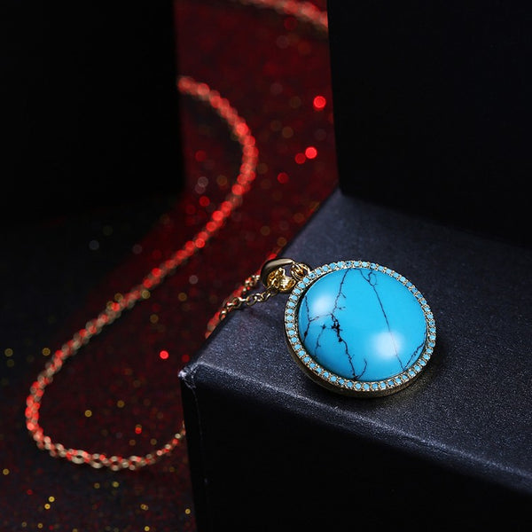 Circular Turquoise Rope Design Pendant Gold Necklace, , Golden NYC Jewelry, Golden NYC Jewelry fashion jewelry, cheap jewelry, jewelry for mom,