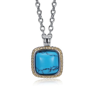 Turquoise Rope Design Square Shaped Gold Necklace - Golden NYC Jewelry www.goldennycjewelry.com fashion jewelry for women