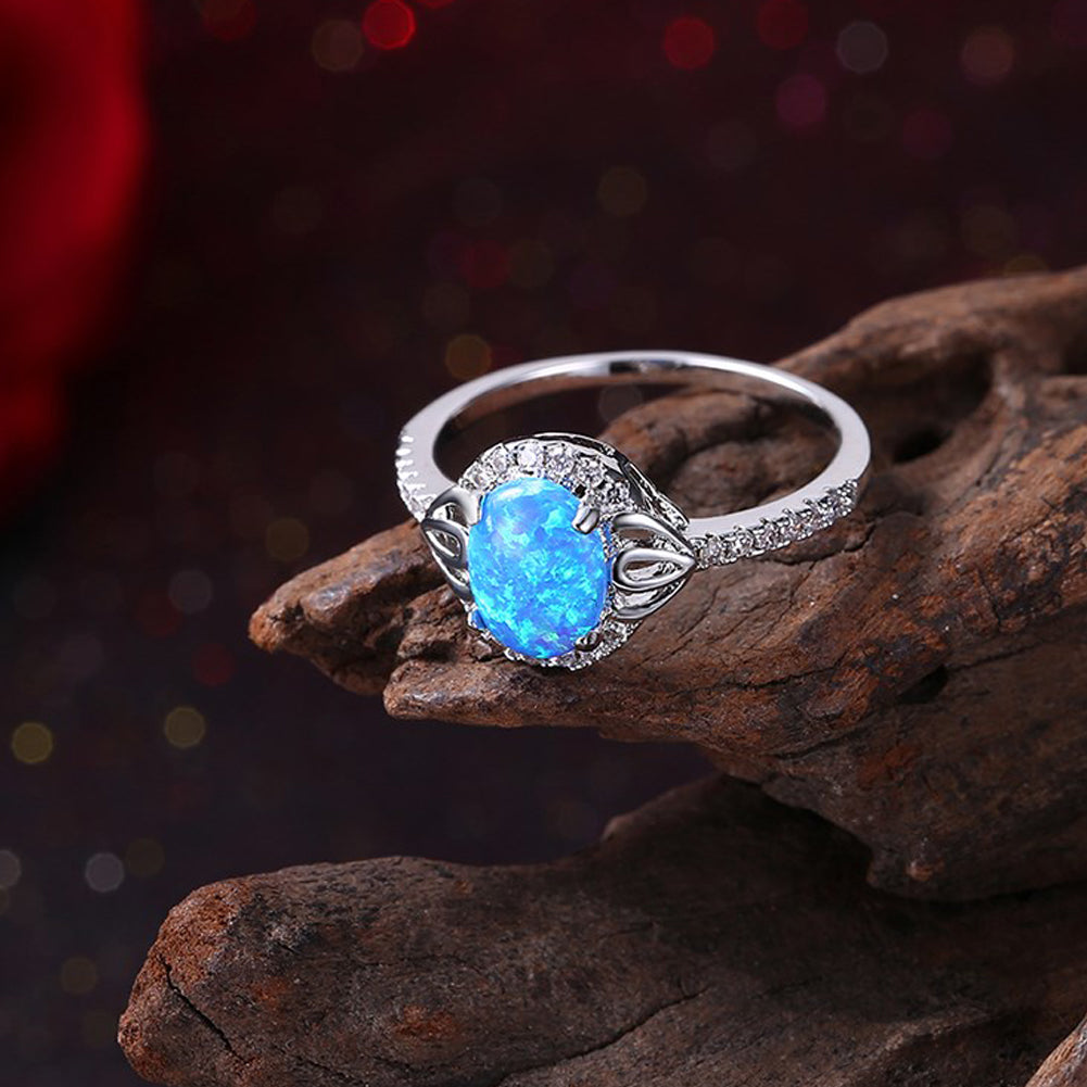 Oceanic Opal Circle Pav'e Ring in 18K White Gold