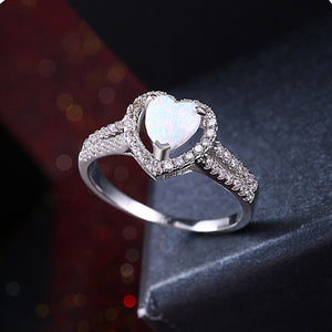 White Opal Heart Shaped Ring in 18K White Gold