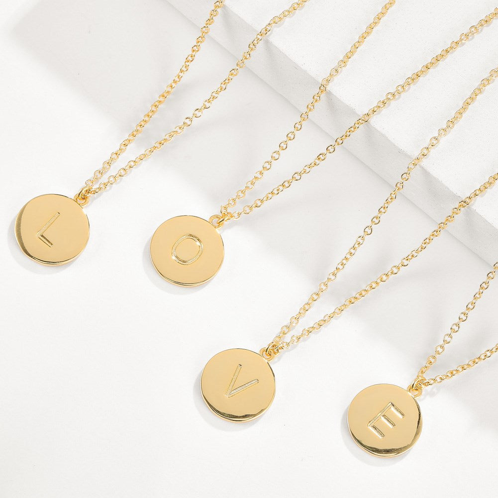 Smooth Disc Initial Necklace in 18K Gold Filled - 26 Letters Available