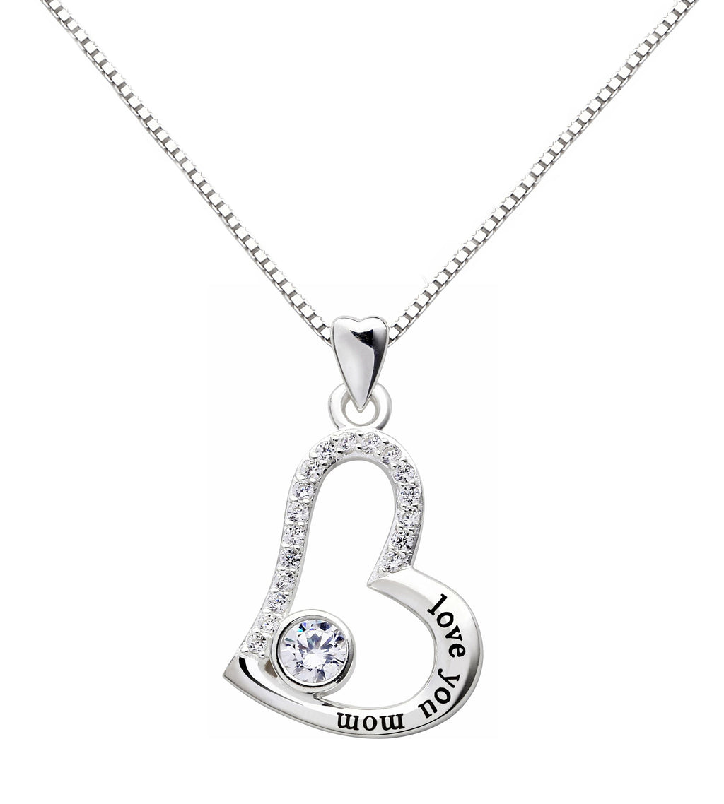 """I Love you MOM"" Heart Necklace Embellished with Crystals in 18K White Gold Plated"