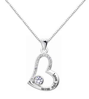 """I Love you MOM"" Heart Necklace Embellished with Swarovski Crystals in 18K White Gold Plated"