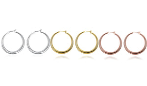 Italian-Made Gold Plated French Lock Hoop Earrings (3-Pack) - Golden NYC Jewelry www.goldennycjewelry.com fashion jewelry for women