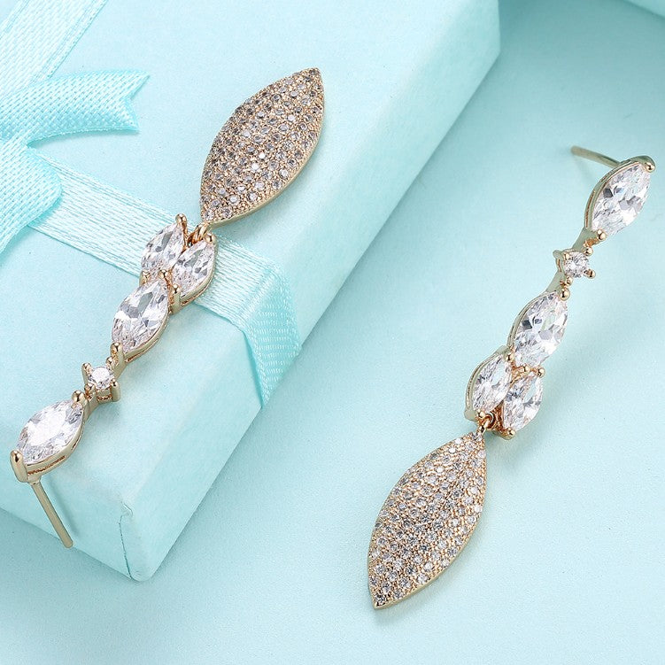 Swarovski Crystal Micro-Pav'e Dangling Pear Shaped Earrings Set in 18K Gold - Golden NYC Jewelry www.goldennycjewelry.com fashion jewelry for women