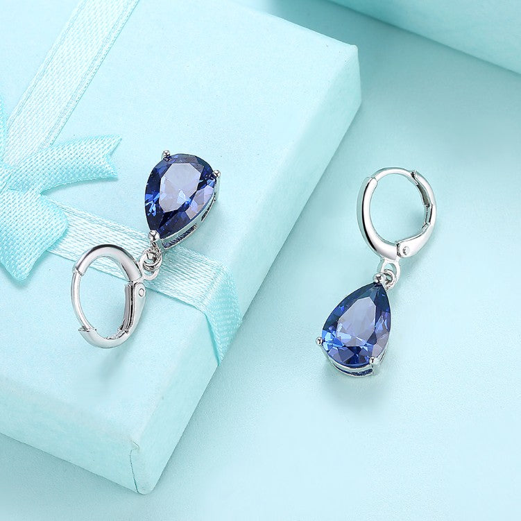 5.55 CTTW Sapphire Pear Shaped Drop Earrings Set in 18K White Gold - Golden NYC Jewelry