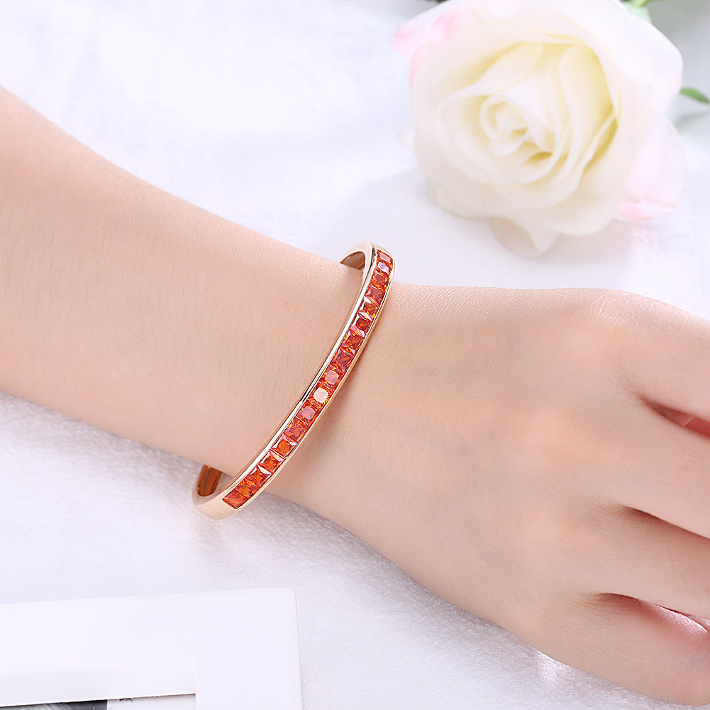Princess Cut Swarovski Elements Bangle in 14K Gold - Orange