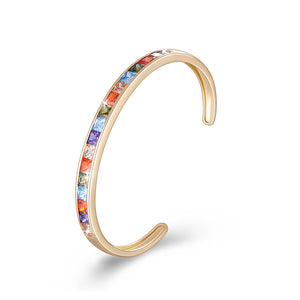 Princess Cut Swarovski Elements Bangle in 14K Gold - Rainbow