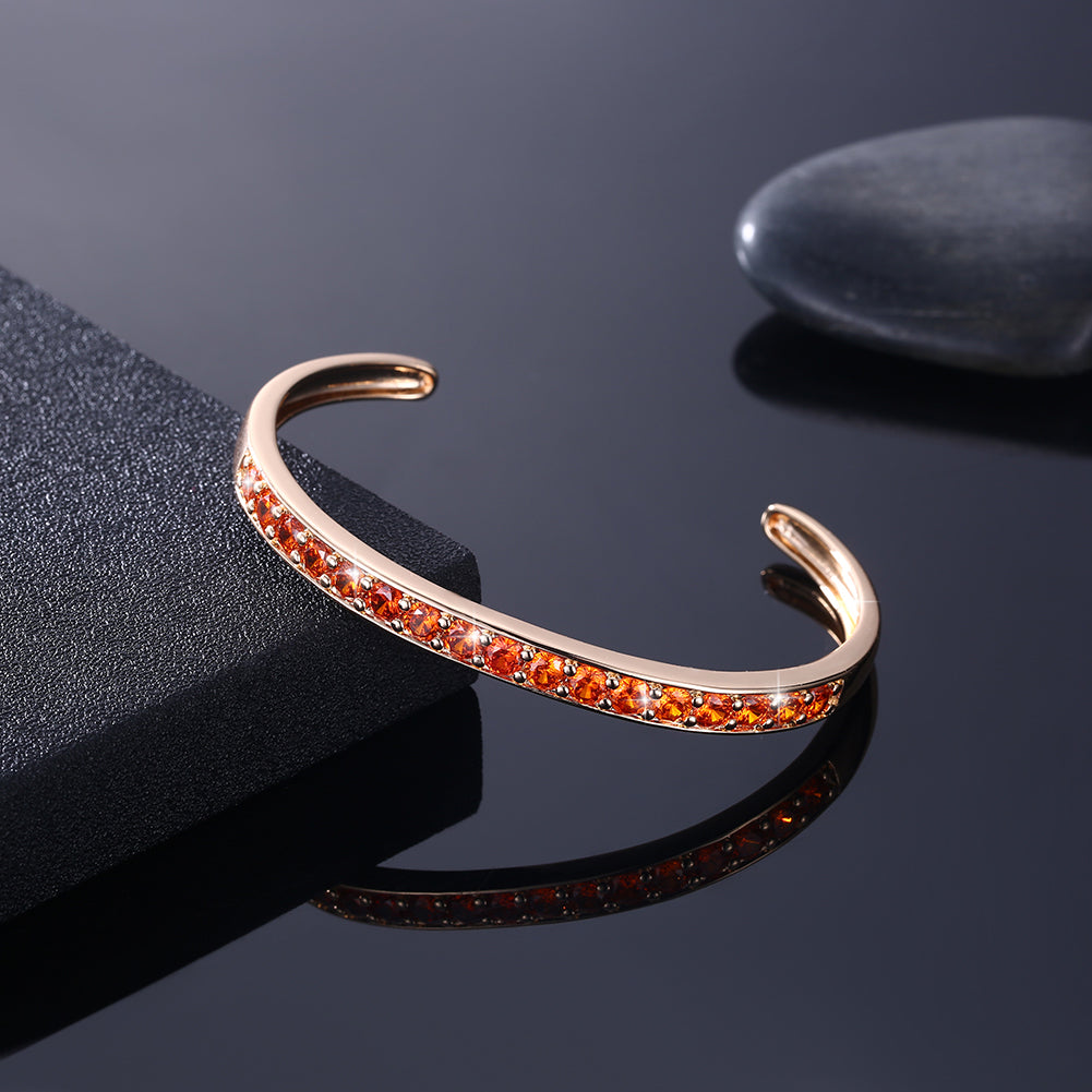 Pav'ed Iced Out Open Bangle in 14K Gold - Orange