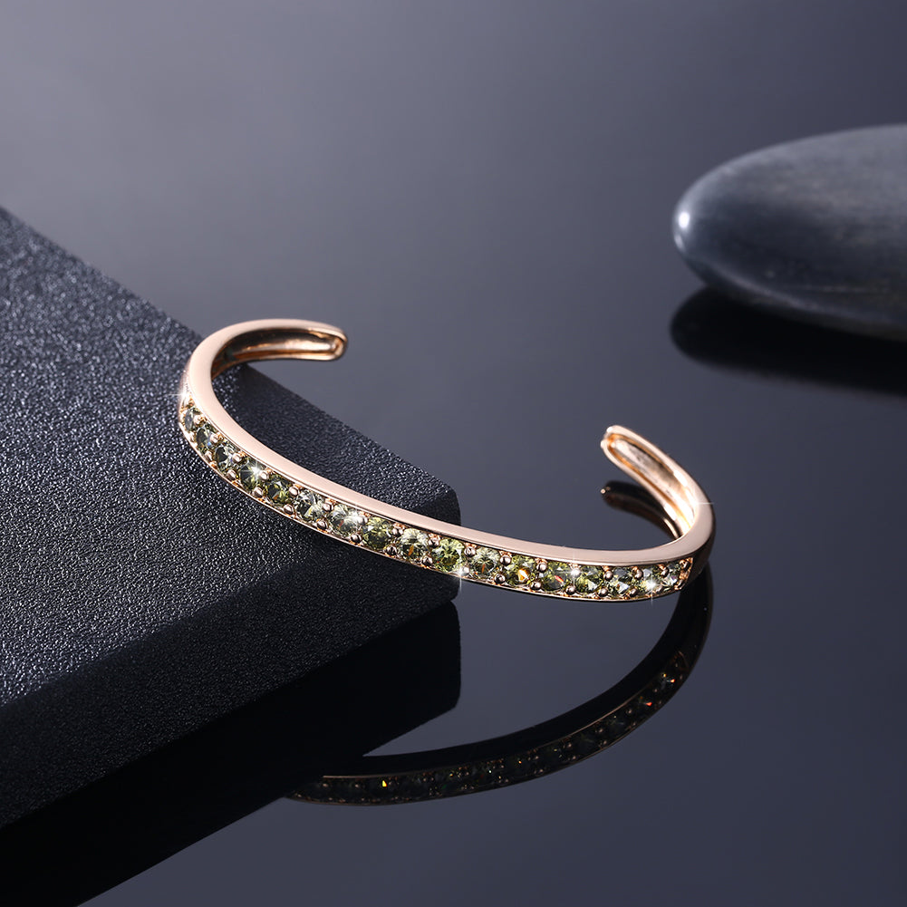 Pav'ed Iced Out Open Bangle in 14K Gold - Green