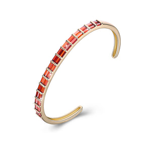 Emerald Cut Swarovski Elements Cuff Bangle- Red, Bracelet, Golden NYC Jewelry, Golden NYC Jewelry  jewelryjewelry deals, swarovski crystal jewelry, groupon jewelry,, jewelry for mom,