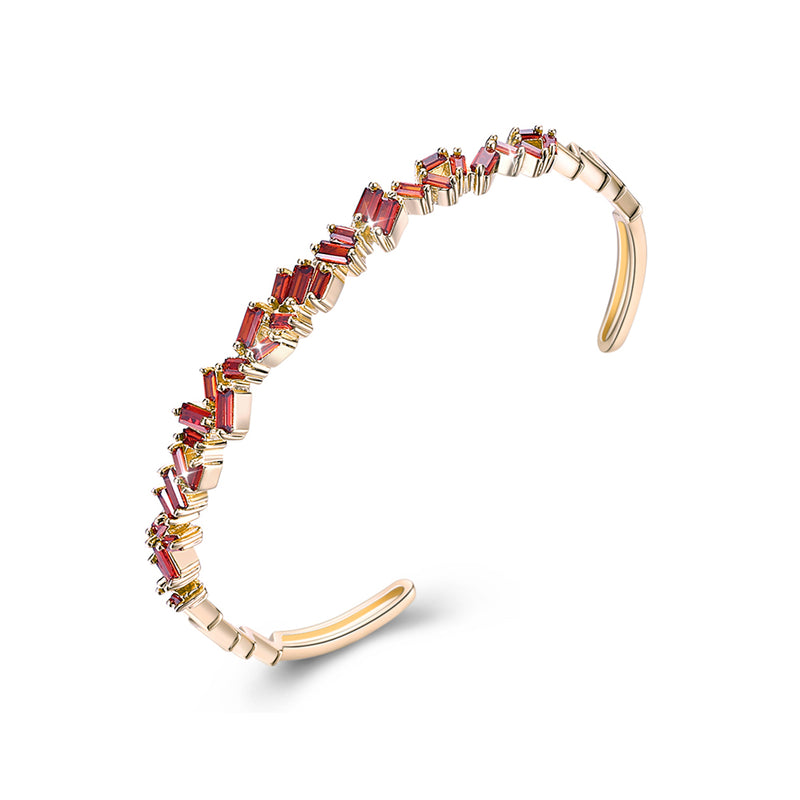 Assymetrical Baguette Cut Swarovski Elements Bangle- Red, Bracelet, Golden NYC Jewelry, Golden NYC Jewelry  jewelryjewelry deals, swarovski crystal jewelry, groupon jewelry,, jewelry for mom,