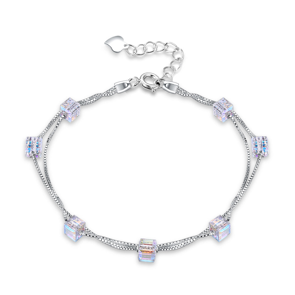 Aurora Borealis Orchid Sterling Silver Charm Bracelet, Bracelet, Golden NYC Jewelry, Golden NYC Jewelry  jewelryjewelry deals, swarovski crystal jewelry, groupon jewelry,, jewelry for mom,