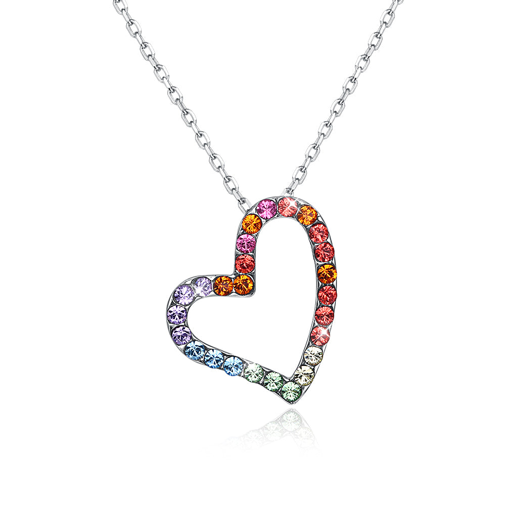 Sterling Silver Rainbow Heart Necklace made with Swarovski Crystals - Golden NYC Jewelry www.goldennycjewelry.com fashion jewelry for women