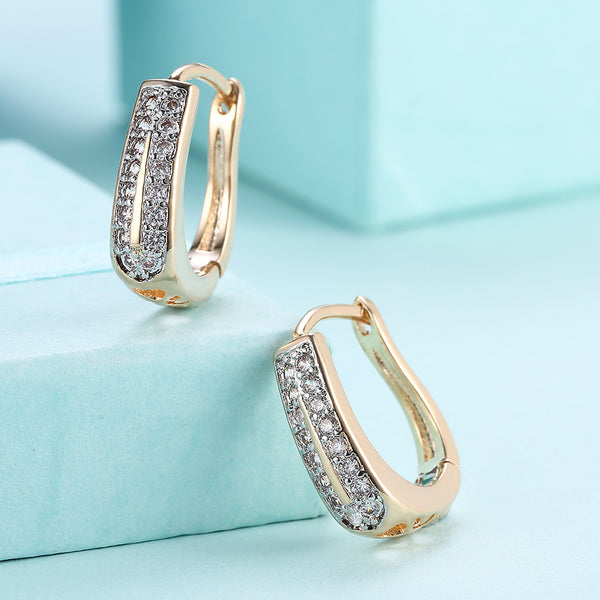 Swarovski Crystal Micro Pav'e Two Lined Classic Huggies Set in 18K Gold - Golden NYC Jewelry www.goldennycjewelry.com fashion jewelry for women