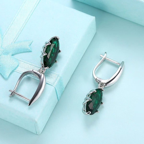 Simulated Emerald Sleek Leverback Earrings Set in 18K White Gold - Golden NYC Jewelry www.goldennycjewelry.com fashion jewelry for women