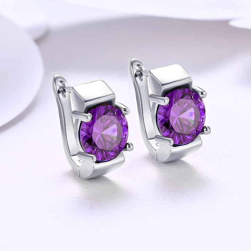 Simulated Amethyst Metallic Leverback Earrings Set in 18K White Gold - Golden NYC Jewelry Pandora Jewelry goldennycjewelry.com wholesale jewelry