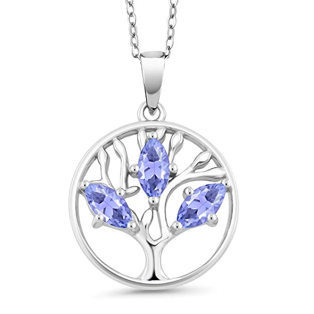 Motherly 2.00 CT Amethyst Pear Cut Tree Of Life Necklace in 18K White Gold Plated