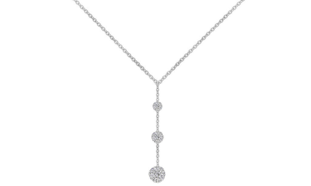 Tripple Embellished with Austrian Crystals Ball Drop Necklace in 18K White Gold Plated