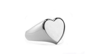 Heart Signet Ring in 18K White Gold Plated