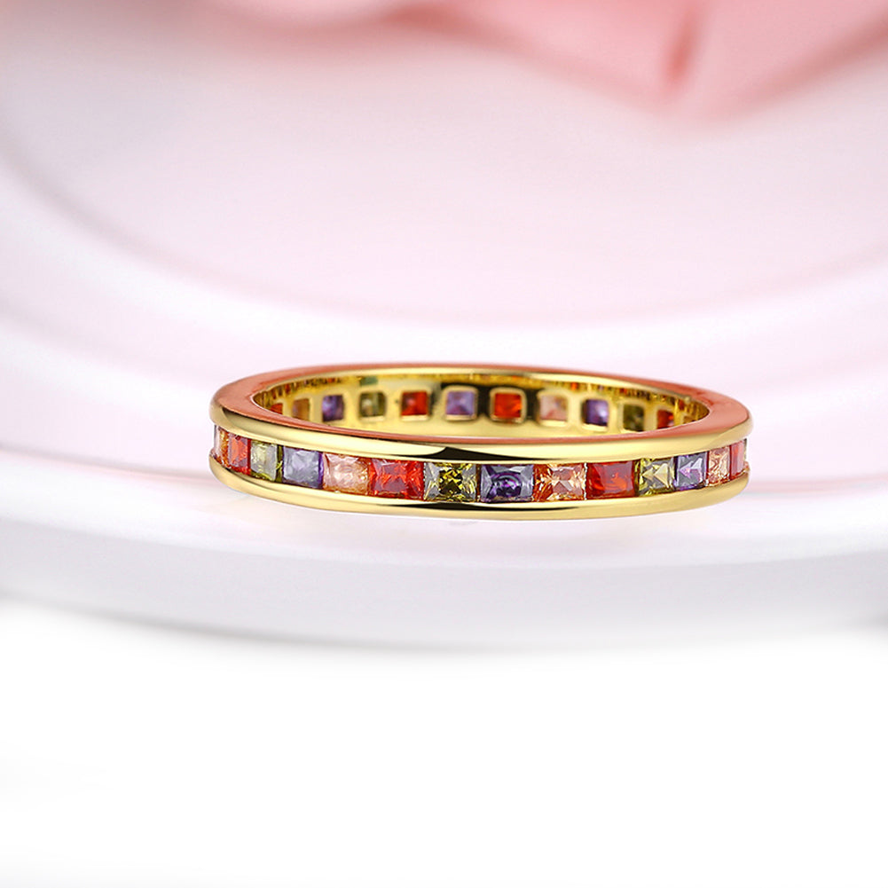 Rainbow Austrian Elements Pav'e Mid 18K GoldRing