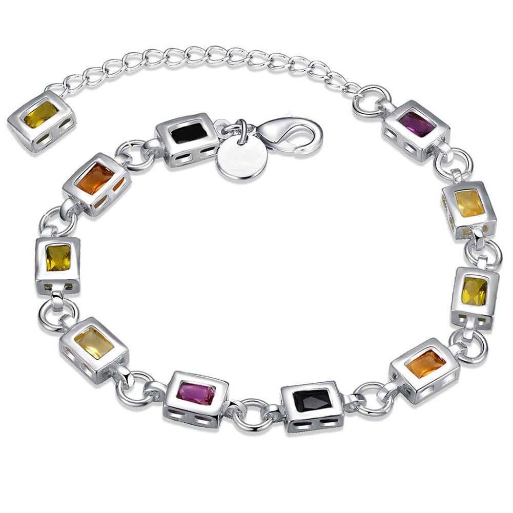 Rainbow Swarovski Square Cut Bracelet in 18K White Gold