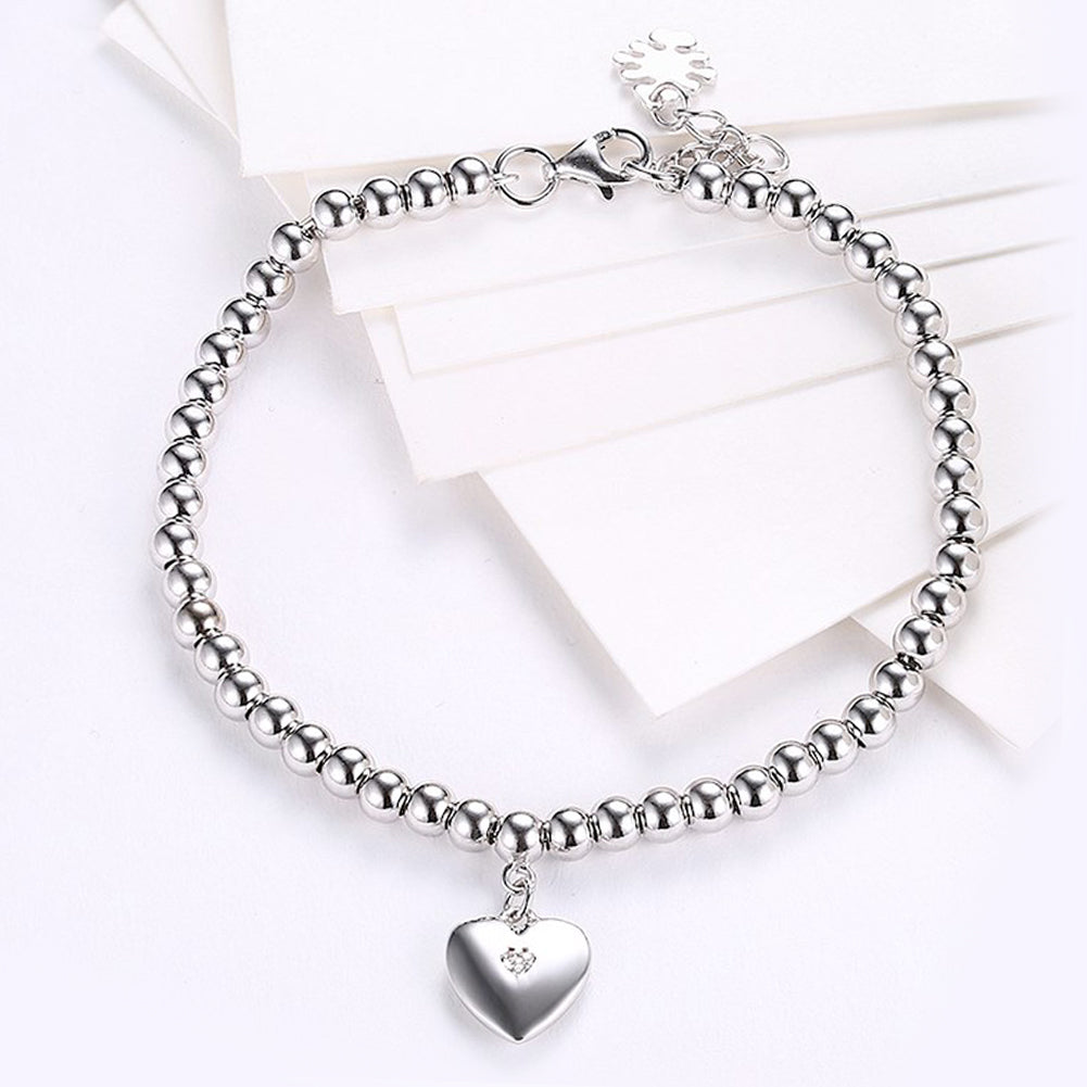 Simple Heart Beaded Sterling Silver Bracelet