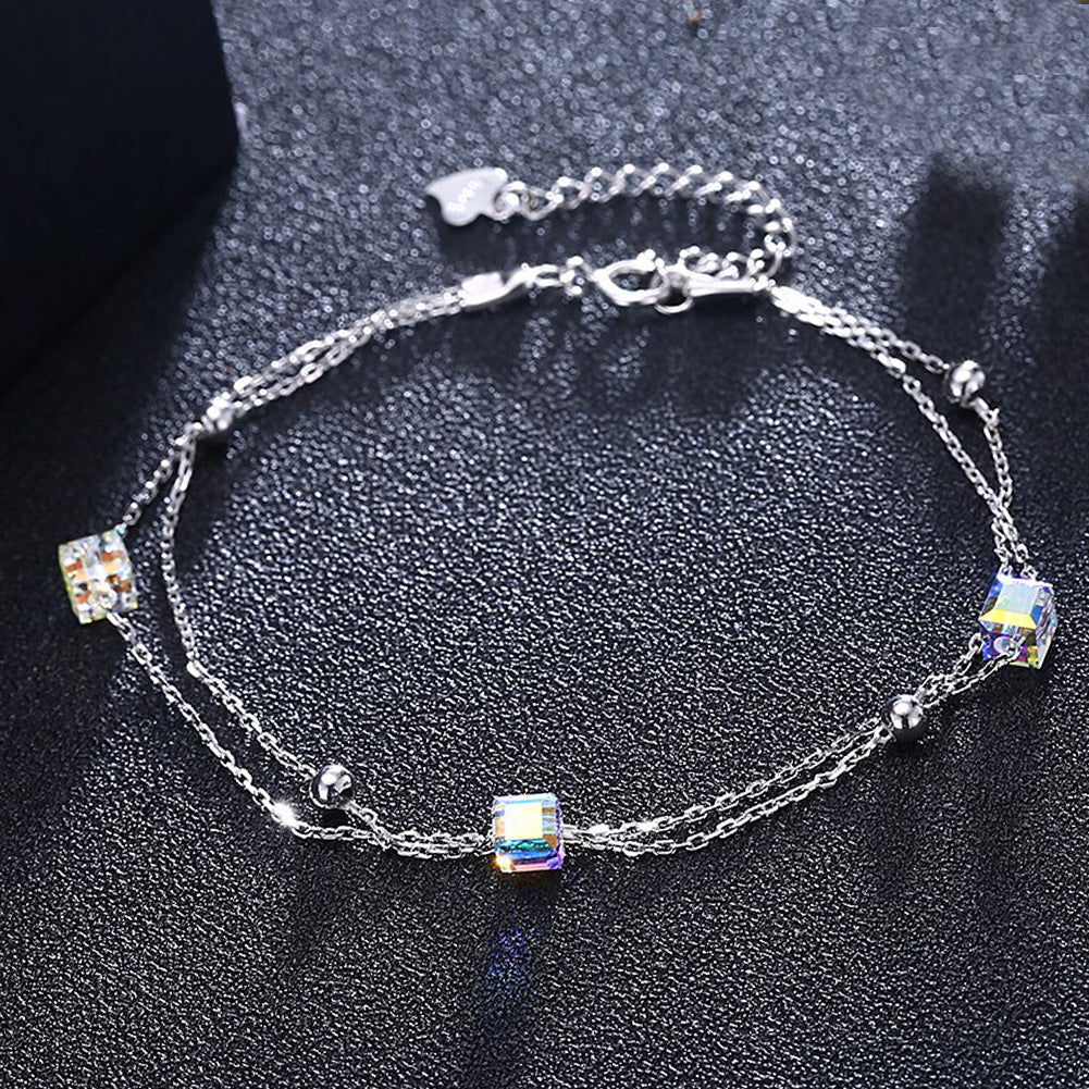 5.00 CT Aurora Borealis Stones Sterling Silver Charm Bracelet, Bracelet, Golden NYC Jewelry, Golden NYC Jewelry  jewelryjewelry deals, swarovski crystal jewelry, groupon jewelry,, jewelry for mom,