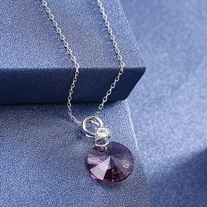 Pink Topaz Disc Sterling Silver Swarovski Crystal Necklace