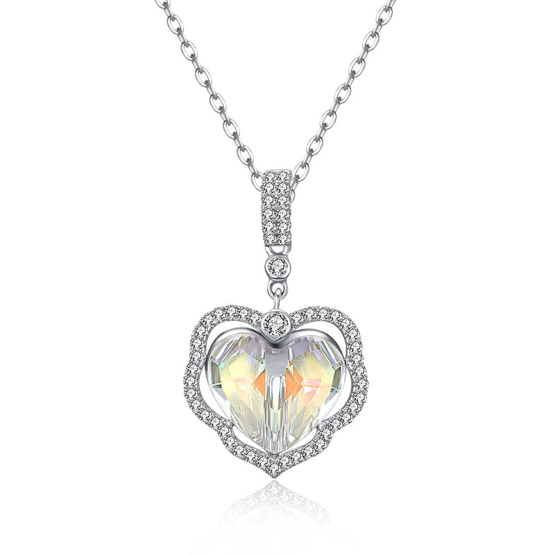 5.00 CT Aurora Borealis Stone Sterling Silver Swarovski Crystal Enchanting Heart Necklace, Necklaces, Golden NYC Jewelry, Golden NYC Jewelry  jewelryjewelry deals, swarovski crystal jewelry, groupon jewelry,, jewelry for mom,