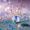 Sterling Silver Aurora Borealis Disco Ball Necklace