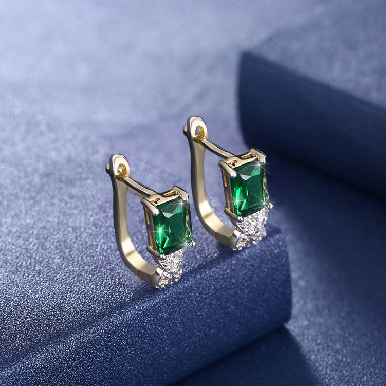 Simulated Emerald Twisted Leverback Earrings - Golden NYC Jewelry www.goldennycjewelry.com fashion jewelry for women