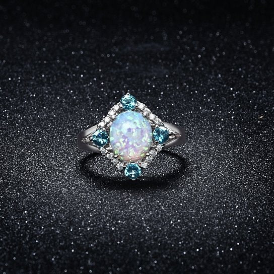 Aquamarine Opal Ring Set in 18K White Gold - Golden NYC Jewelry www.goldennycjewelry.com fashion jewelry for women