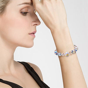 Aurora Borealis Swarovski Elements Cubed Stretch Silver Plating Bracelet