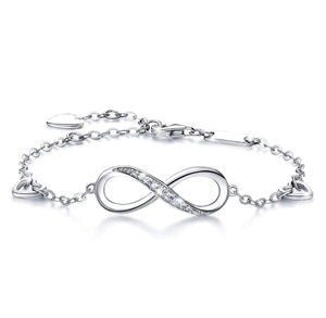 White Austrian Elements Infinite Pendant Chain Bracelet in 14K White Gold Plating