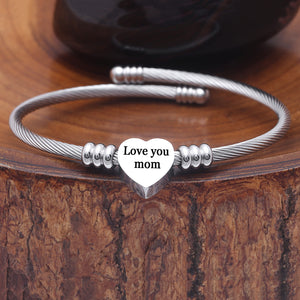 SOLID STAINLESS STEEL Heart Cable Initial Bracelet - Letters A-Z
