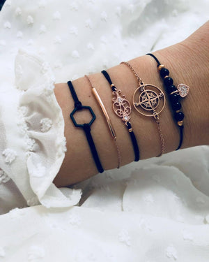 Searching For The Stars Black Marble 5 Piece Bracelet
