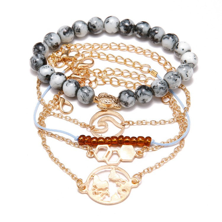 Cleaning Our Oceans Marble 5 Piece Bracelet Set