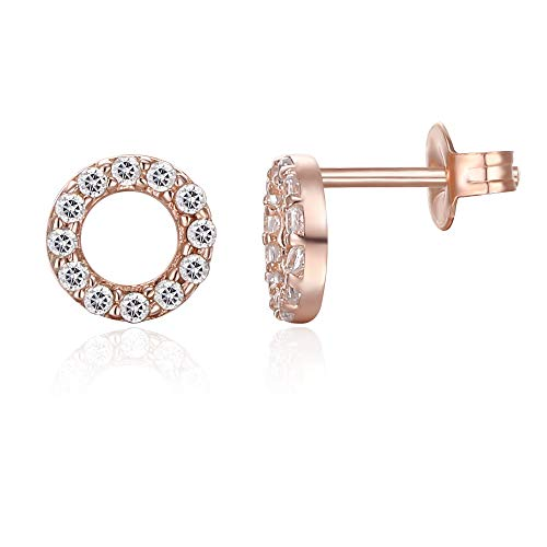 6mm Pave Disc Stud Earring with Swarovski Crystals - 14K Rose Gold Plated, Earring, Golden NYC Jewelry, Golden NYC Jewelry  jewelryjewelry deals, swarovski crystal jewelry, groupon jewelry,, jewelry for mom,