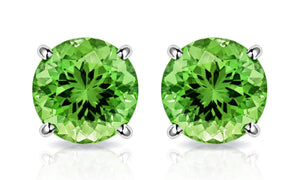 Peridot Created Austrian Crystal 6mm Stud Earring 14K White Gold Plated - 1.00 CT
