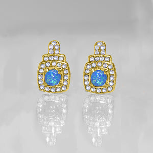 Oceanic Opal Double Halo Stud Earrings Made With Swarovski Elements in 18K Gold Plating