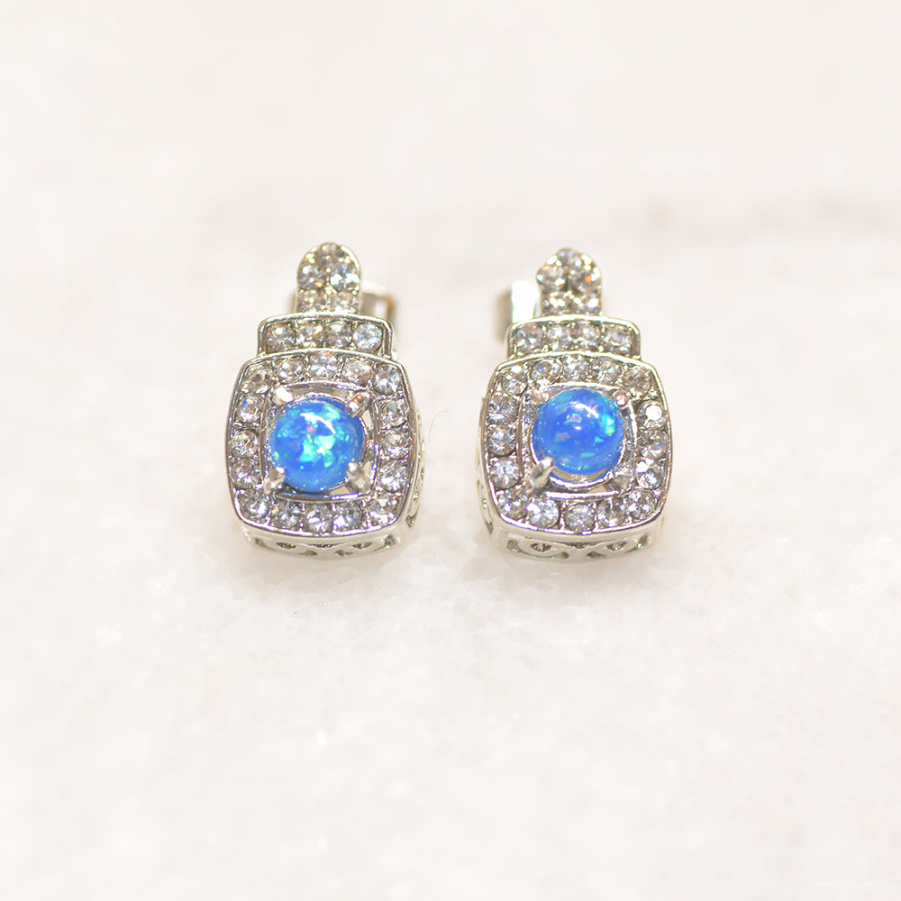 Oceanic Opal Double Halo Stud Earrings Made With Austrian Elements in 18K Gold Plating