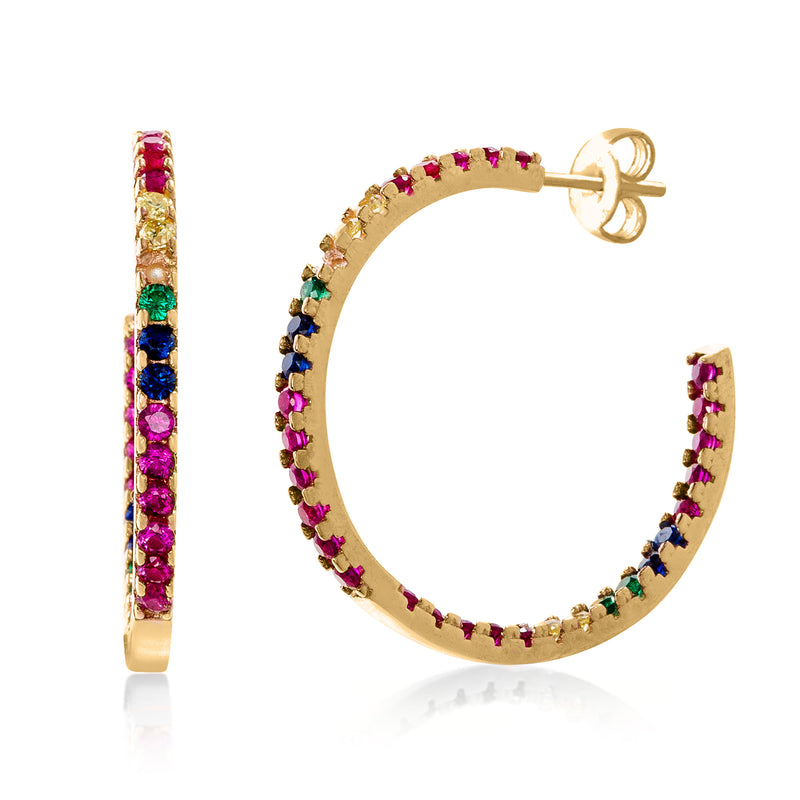 Candy Lover Rainbow Pave Swarovski Hoop Earring (3 Colors available), Earring, Golden NYC Jewelry, Golden NYC Jewelry  jewelryjewelry deals, swarovski crystal jewelry, groupon jewelry,, jewelry for mom,
