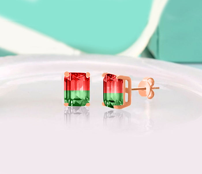 5.00 Ctw Emerald Cut Ruby/Emerald Stud Earringsin 18K Rose Gold Plated, Earring, Golden NYC Jewelry, Golden NYC Jewelry  jewelryjewelry deals, swarovski crystal jewelry, groupon jewelry,, jewelry for mom,