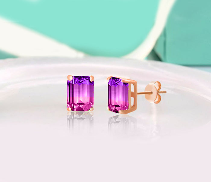 5.00 Ctw Emerald Cut Pink/Amethyst Stud Earringsin 18K Rose Gold Plated, Earring, Golden NYC Jewelry, Golden NYC Jewelry  jewelryjewelry deals, swarovski crystal jewelry, groupon jewelry,, jewelry for mom,