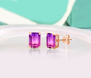 3.00 Emerald Cut Gemstone Stud Earrings in 14K Gold Plating, , Golden NYC Jewelry, Golden NYC Jewelry  jewelryjewelry deals, swarovski crystal jewelry, groupon jewelry,, jewelry for mom,