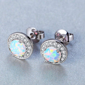 Sleek Simple Minamilisitc Opal Button Studs in 14K White Gold Plating