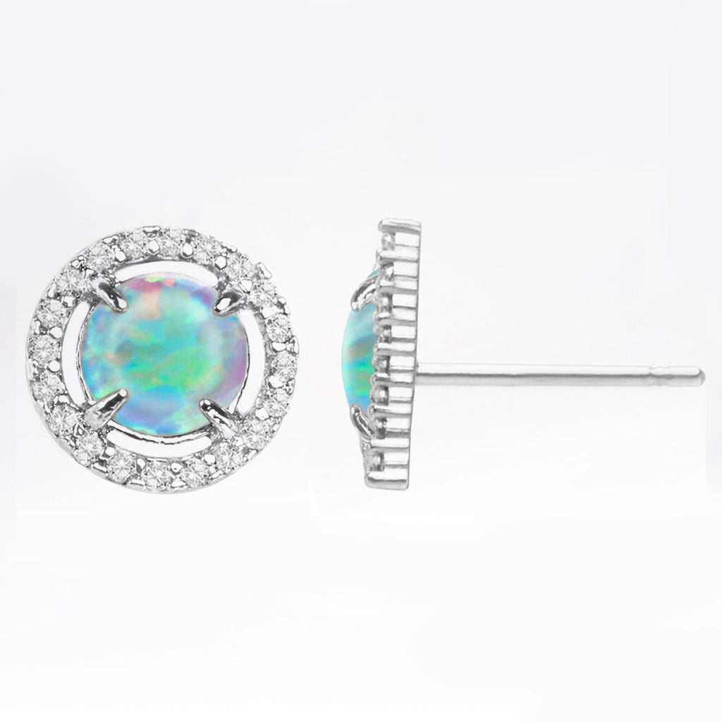 2.50 Ct Opal Created Round Halo Stud Earringin 18K White Gold Plated, Earring, Golden NYC Jewelry, Golden NYC Jewelry  jewelryjewelry deals, swarovski crystal jewelry, groupon jewelry,, jewelry for mom,