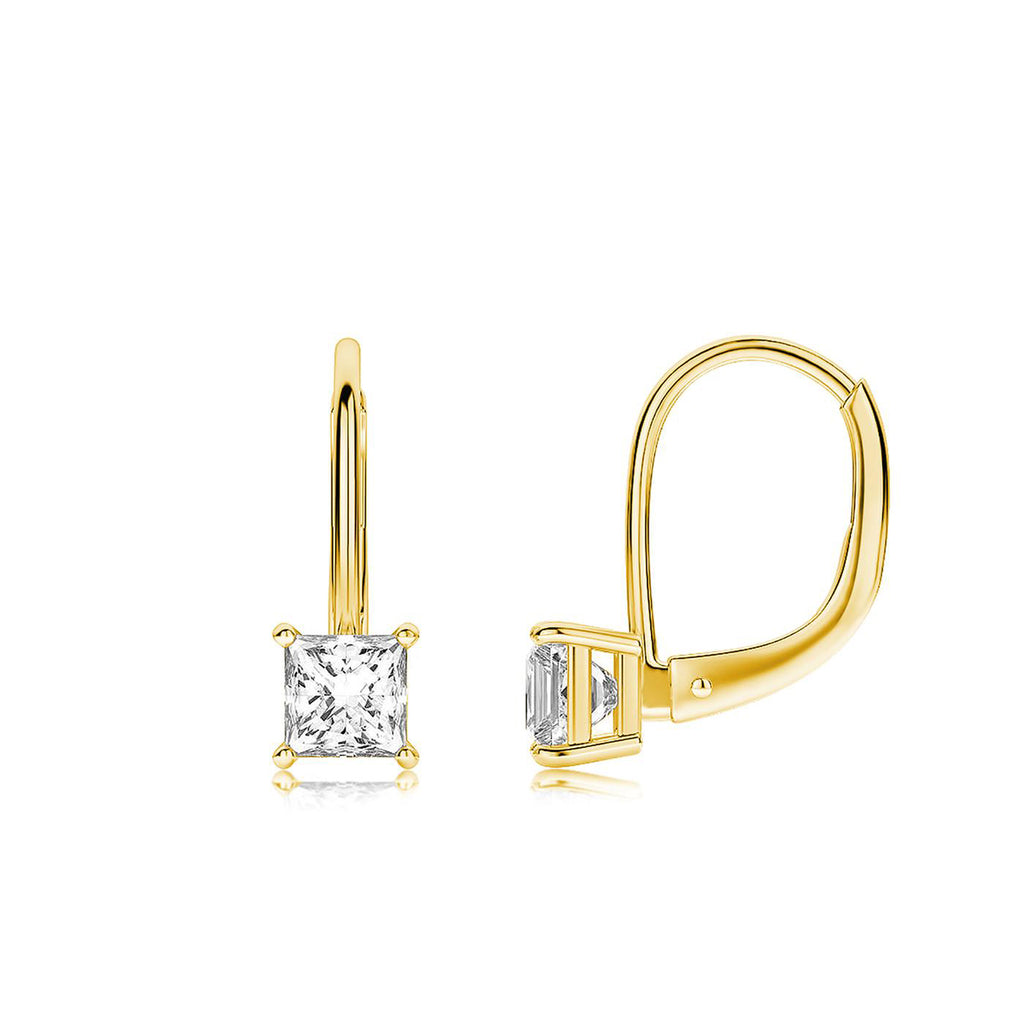 Princess Cut Swarovski Elements Simple Leverback Earrings in 14K Gold